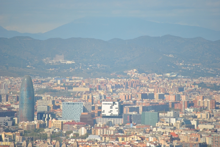 Barcelona, as seen from a hilltop.