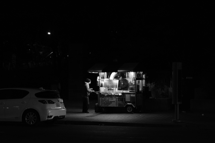 As cliche as it is, I appreciate all this hot-dog vendor does for whoever he feeds. It drops to around 8 degrees and he just works all night, serving people hot dogs making a living and actually having fun meeting all sorts of people - but sometimes people do tend to disregards the challenges of life.